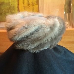Vintage 1950's Gray Mink Tail Pillbox Hat